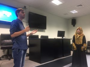 Two students from An-Najah University practice for their debate.