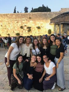 Haley and her friends celebrating Shabbat at the Western Wall.