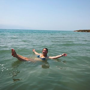 Haley floating in the Dead Sea