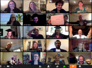 Zoom meeting with students, friends, and family in small squares