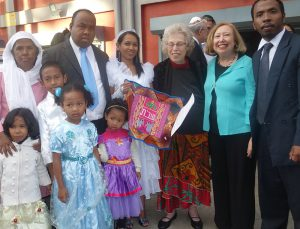 Barbara (second from right) with Kulanu president Harriet Bograd and the family of bride Ahava and husband Laza
