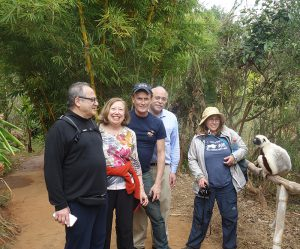 Our group with a visitor at the lemur reserve