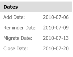 Dates from the Google MIgration Application