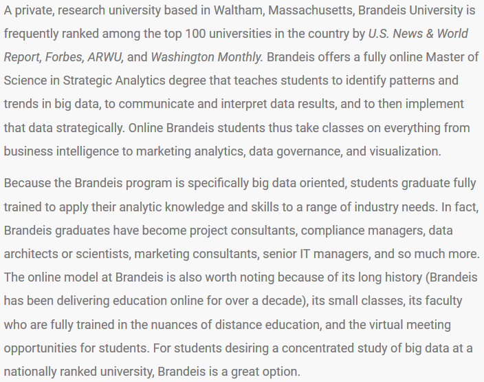 Strategic Analytics listing in College Choice's 50 Best Online Big Data Programs