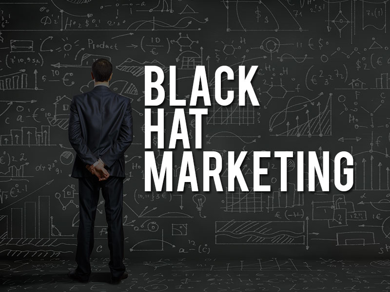 Man next to text saying black hat marketing