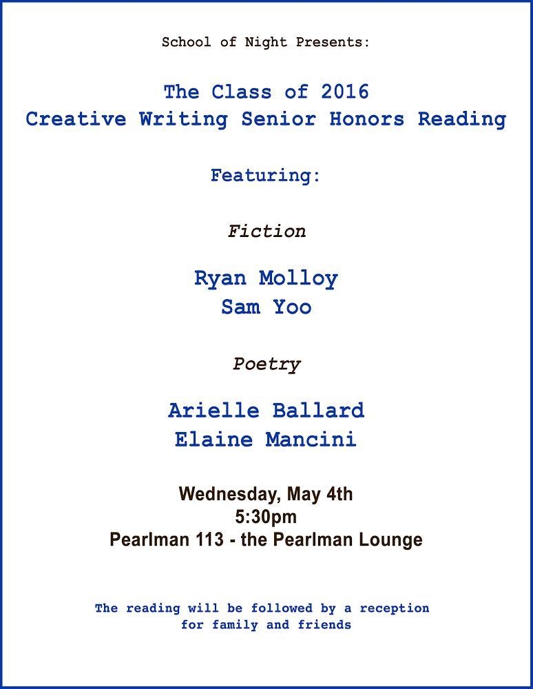 Creative Writing Senior Honors Reading