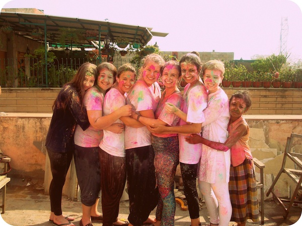 A group of IES students celebrating the Indian holiday, Holi