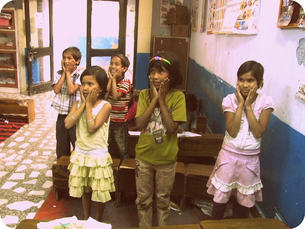 "Students participating in a game of ""Ellie Ketihe"" (or Simon Says) at Prayas"
