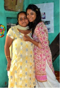 With my host mother, Sunitaji