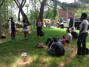 Taking advantage of the weather to tell stories outdoors!