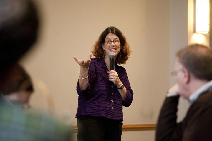 Kathy Schultz speaking at the Teacher Forum