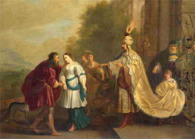 "The painting ""Pharaoh Gives Sarah Back to Abraham,"" painted by Isaac Isaacs in 1640"