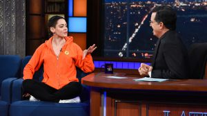 Rose McGowan and Stephen Colbert