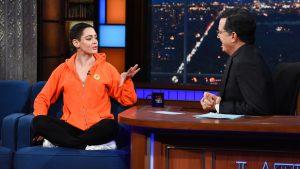 Rose McGowan and Stephen Colbert
