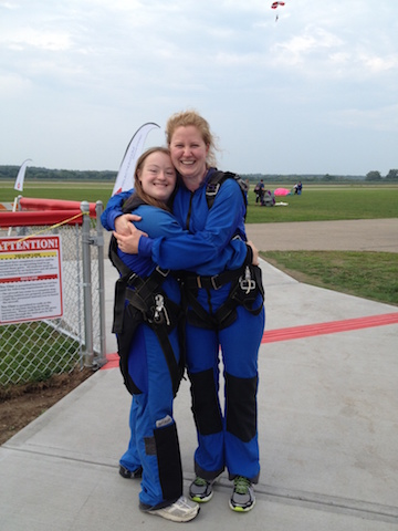 Jenny Klein and her sister after skydiving