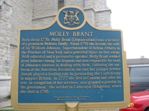 "Plaque in Ontario honoring the Loyalist Molly Brant.  Despite her ""slight importance,"" there are no visual representations of her."