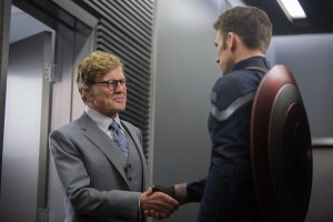 Alexander Pierce (Robert Redford) and Captain America (Chris Evans)