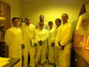 Students are in the cleanroom during training.