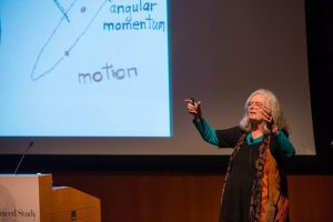 Karen Uhlenbeck giving a talk