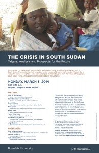 South Sudan Crisis Teach-In flyer
