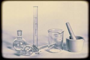 Retro style photo of chemistry glassware.