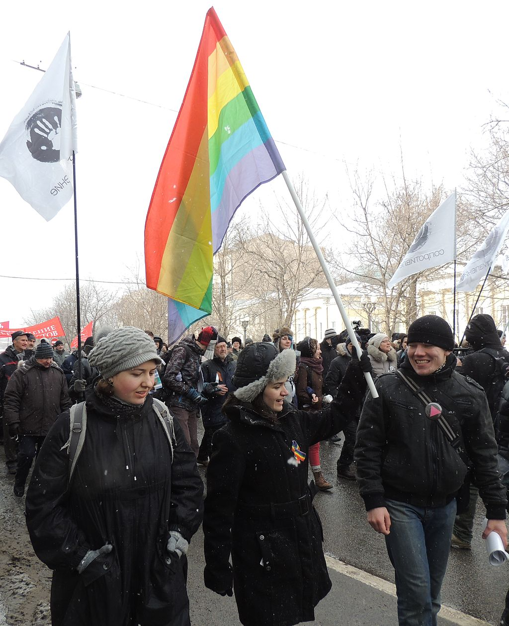"Moscow opposition rally ""for the social rights of Muscovites"" 2 March 2013, LGBT activists. Photo credit: Bogomolov.PL"