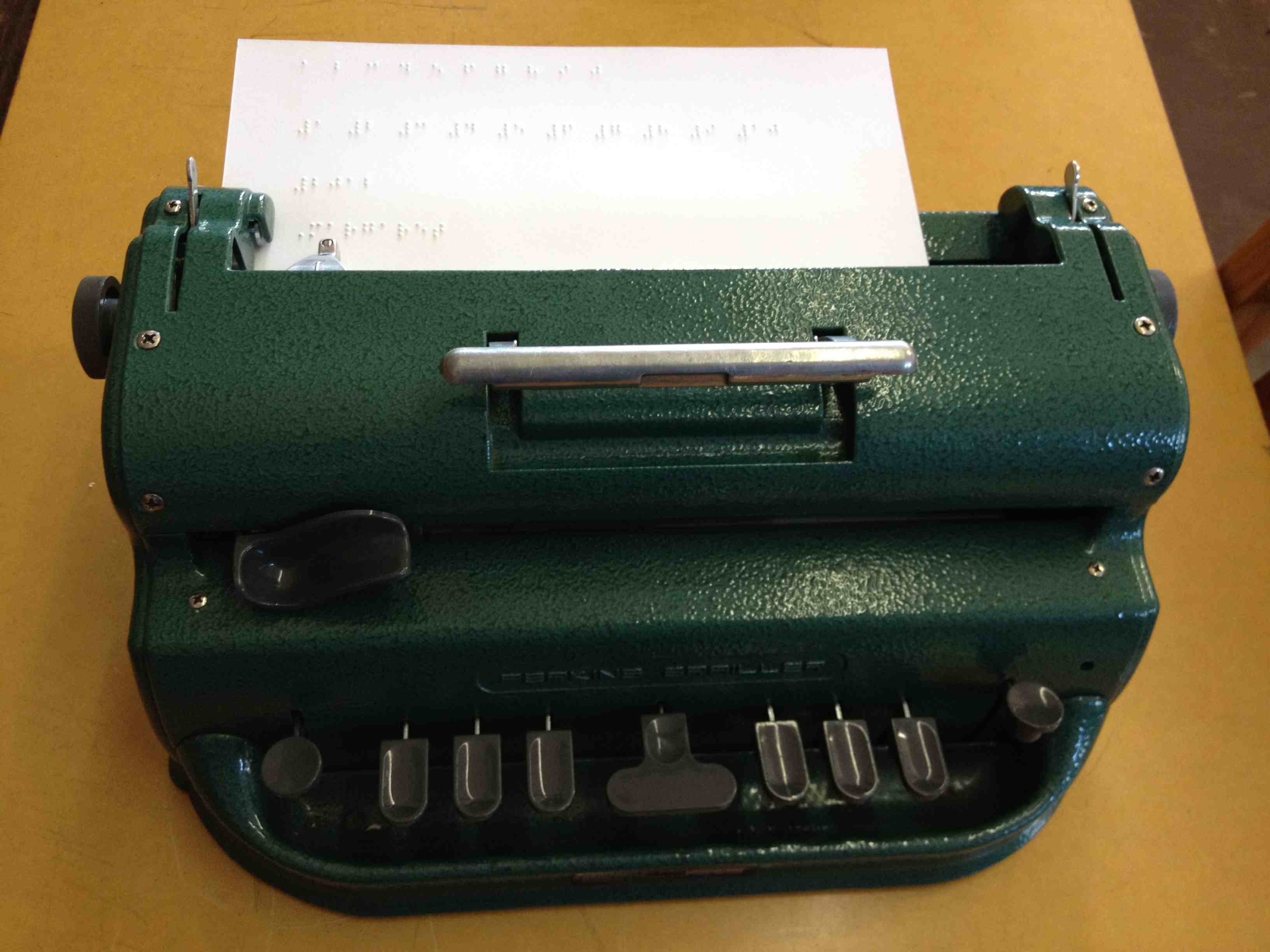 Braille typewriter used at the SIbonile School for Visually Impaired