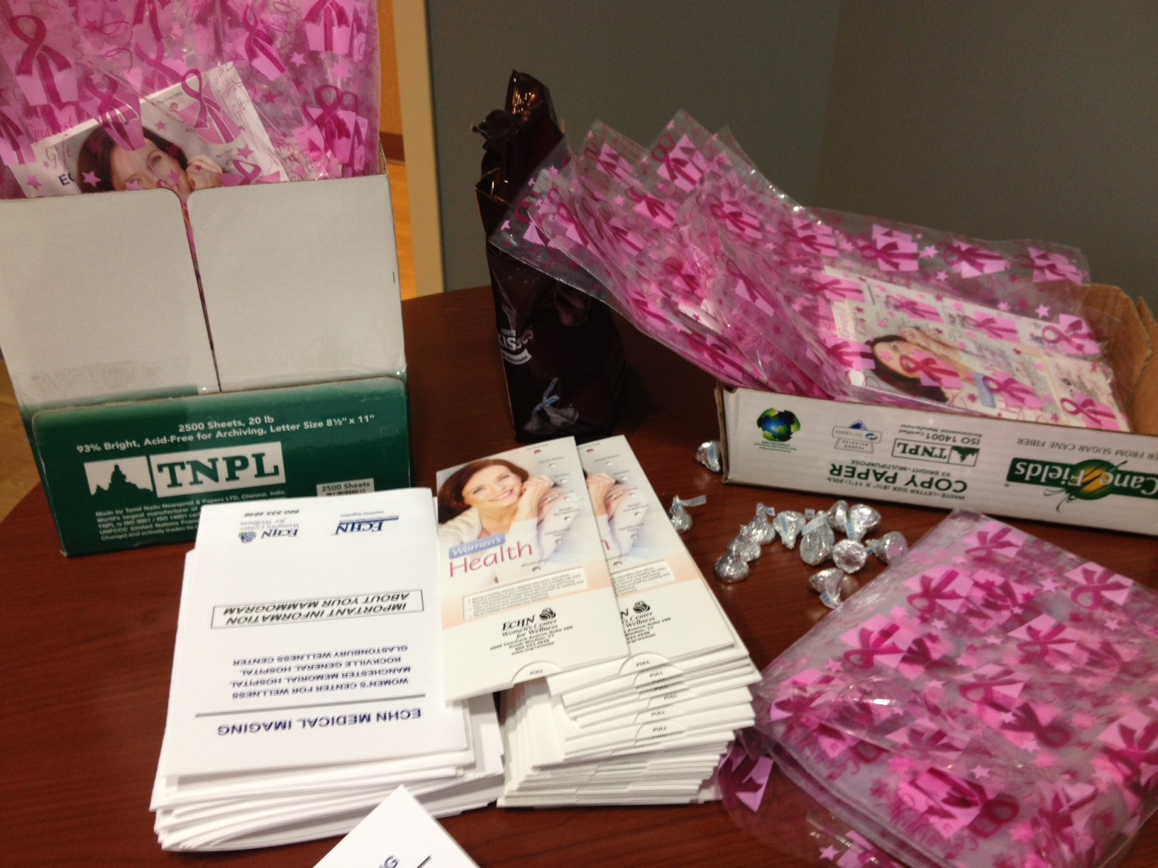 Patients get these goody bags filled with informational leaflets and chocolate after their mammogram.