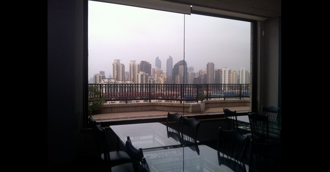 View from Stepping Stones' office, with the skyline of Xujiahui in the back.