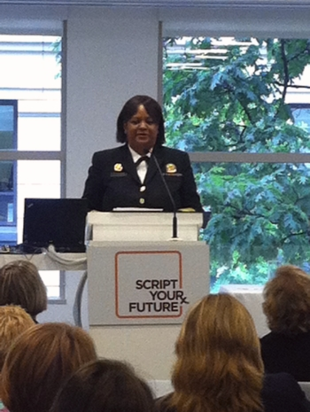 Former Surgeon General Dr. Regina Benjamin speaking at NCL's Script Your Future Event
