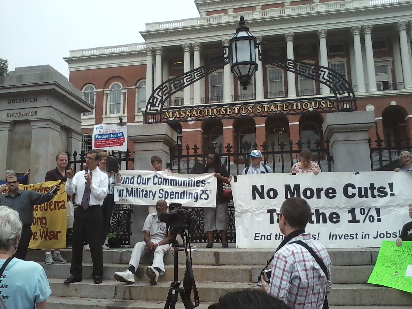 The Budget for All rally outside the MA State House