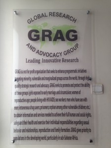 Plaque with the GRAG Mission Statement  hanging at the office entrance.