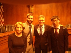 My supervisor, fellow intern, and me (first from the right) with Minnesota Senator Al Franken at the Senate Committee Hearing on Location Privacy