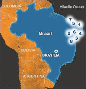 The numbers on the map show the locations of World Vision´s Area Development Projects in Brazil.