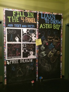 One of the many interactional lobby activities for Astro Boy (I made those chalkboards!)