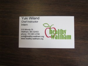 My first business card! Feeling official with Healthy Waltham.