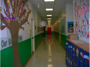 The colorful school hallways on the lower floors of the building are lovely to walk through when stressed at work!
