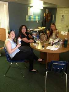 One of my fellow interns, my supervisor and I collaborating (with snacks!)