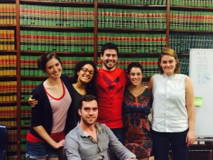 The Law Clerks and me in the library, aka: our office
