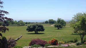 The grounds of the Eugene O'Neill Theater Center featuring a beautiful view of the ocean.