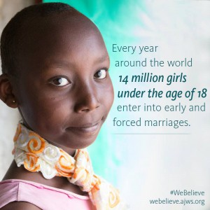 My co-intern and I used this AJWS image in our presentation to the group of high school students to educate them on Early Child Marriage.
