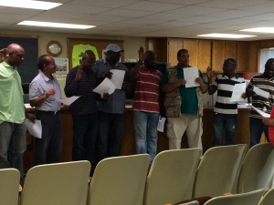 The first IWJC members taking their membership pledge.