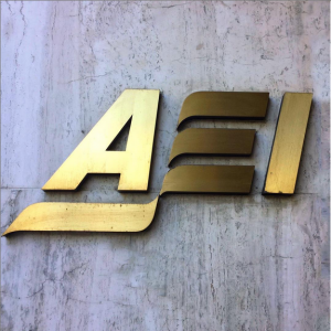 The doors to AEI's building.