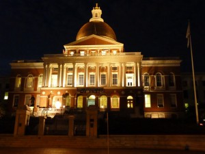 Night time view of the Massachusetts State House