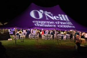 The O'Neill logo projected on the Gala tent earlier this summer.