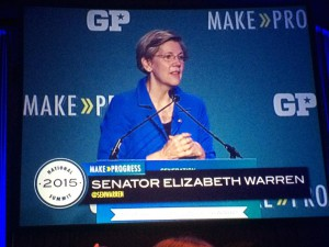 Our MA Senator Elizabeth Warren energizing the crowd with a passionate speech