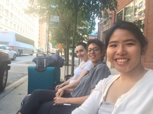 Me and 2 other IWJ interns at the debriefing in Chicago