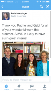 President of American Jewish World Service, Ruth Messinger, tweets about her interns on our last day of the internship.
