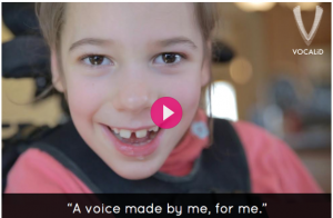 Maeve, a young girl with cerebral palsy, is receiving one of the voices we worked on this summer. Her story was featured heavily on our Indiegogo campaign.