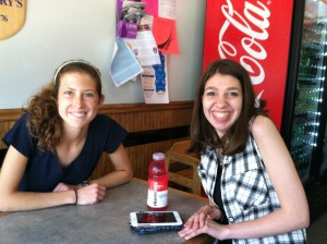 Emma, a fellow intern, and Sam, a previous recipient of a VocaliD voice, out for pizza in downtown Belmont.